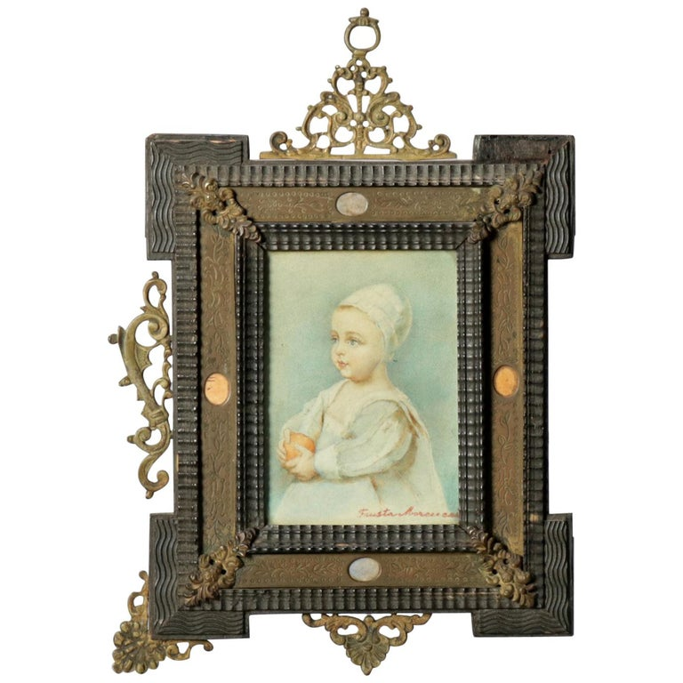 Antique French Miniature Signed Watercolor Portrait in Carved Frame 19th Century For Sale