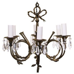 1950s Petite Spanish Bronze Floral and Ribbon Six-Arm Crystal Chandelier