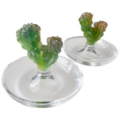 1980s Pair of Daum Pate de Verre Cactus Dishes by Hilton McConnico