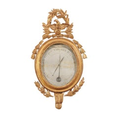 French 19th Century Carved Giltwood Barometer with Eagle and Laurel Wreath Motif