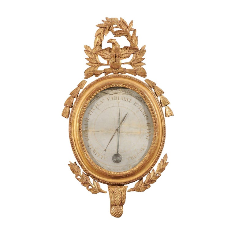 French 19th Century Carved Giltwood Barometer with Eagle and Laurel Wreath Motif For Sale