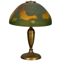 Antique Arts and Crafts Jefferson Lamp with Reverse Painted Landscape Scene