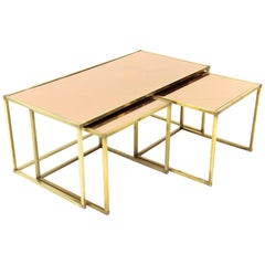 Italian Midcentury Brass and Pink Mirror Nesting Tables, 1950s