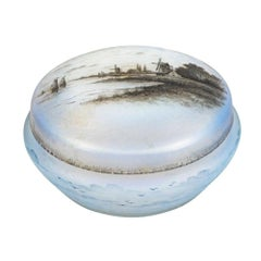 Daum Nancy Cameo Enamel Glass Box and Cover