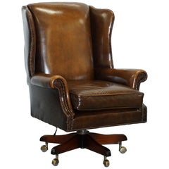 Vintage Harrods London Oversized Brown Leather Wingback Office Captains Chair