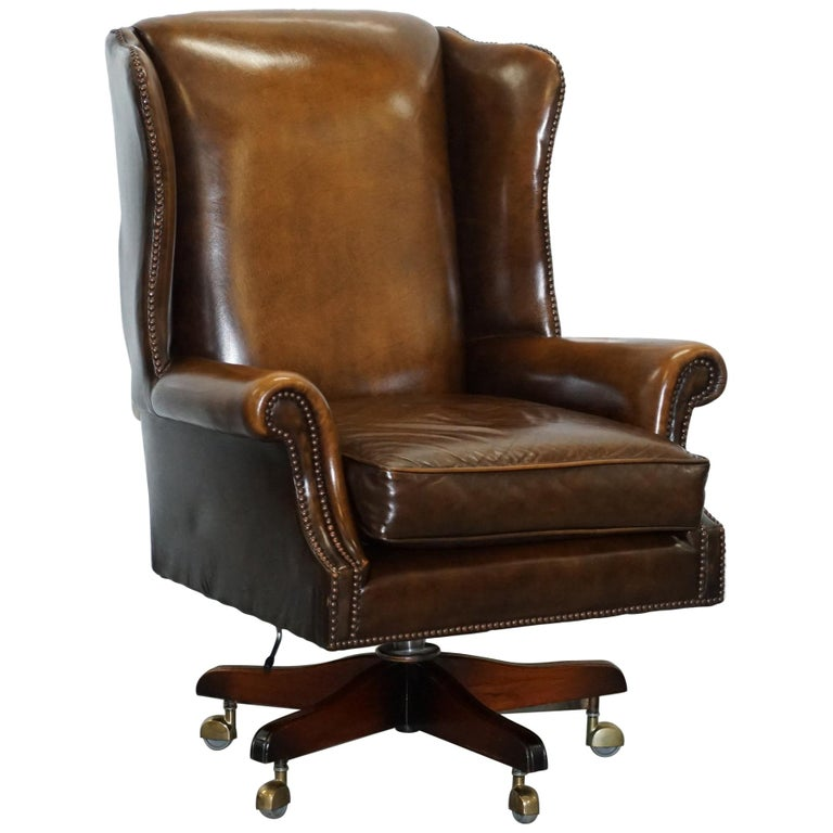 Vintage Harrods London Oversized Brown Leather Wingback Office Captains Chair At 1stdibs