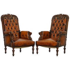 Pair of Fully Restored Show Wood Frame Chesterfield Leather Victorian Armchairs