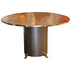 Brass Mounted Burl Elm and Steel Centre Table
