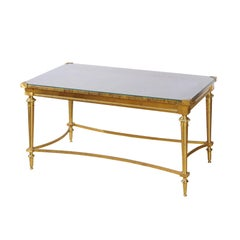 French Vintage Maison Baguès Brass Coffee Table with Marbleized Top under Glass