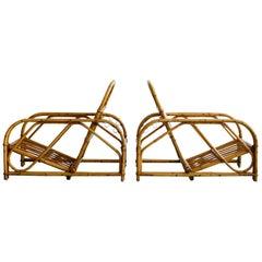 Rare Audoux Minet Rattan Lounge Chairs