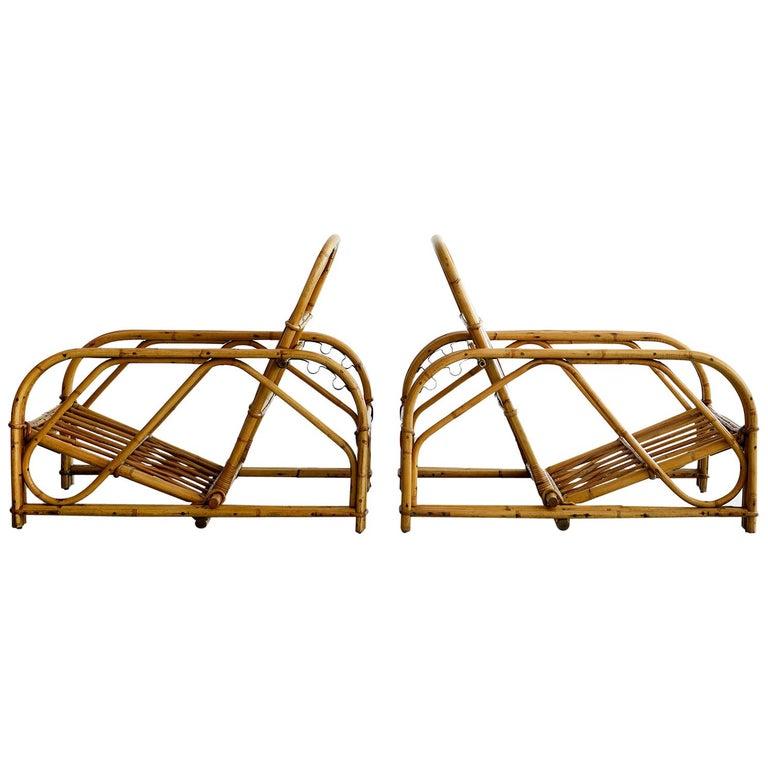 Rare Audoux Minet Rattan Lounge Chairs For Sale