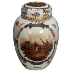 Antique German Pictorial Porcelain Bro. Schone All Huttenstein Tea Caddy