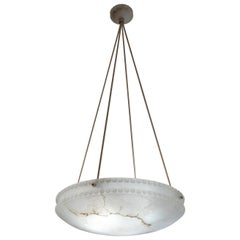 Alabaster Light Fixture with Pearl Detail