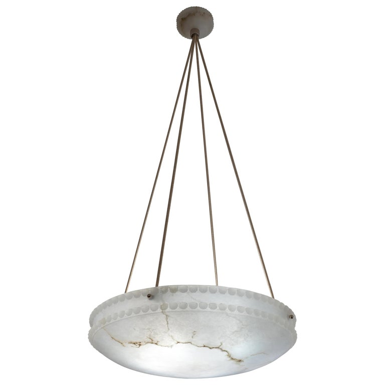 Alabaster Light Fixture with Pearl Detail For Sale