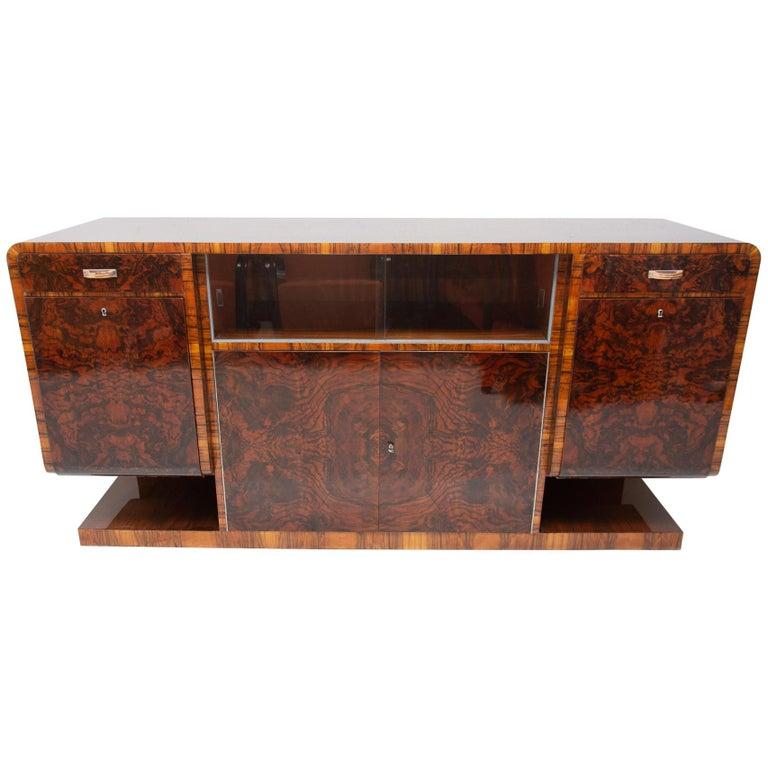 Bohemian Art Deco Walnut Veneer Sideboard or Buffet, 1930s For Sale