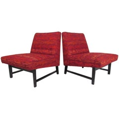 Mid-Century Modern Slipper Chairs by Edward Wormley for Dunbar