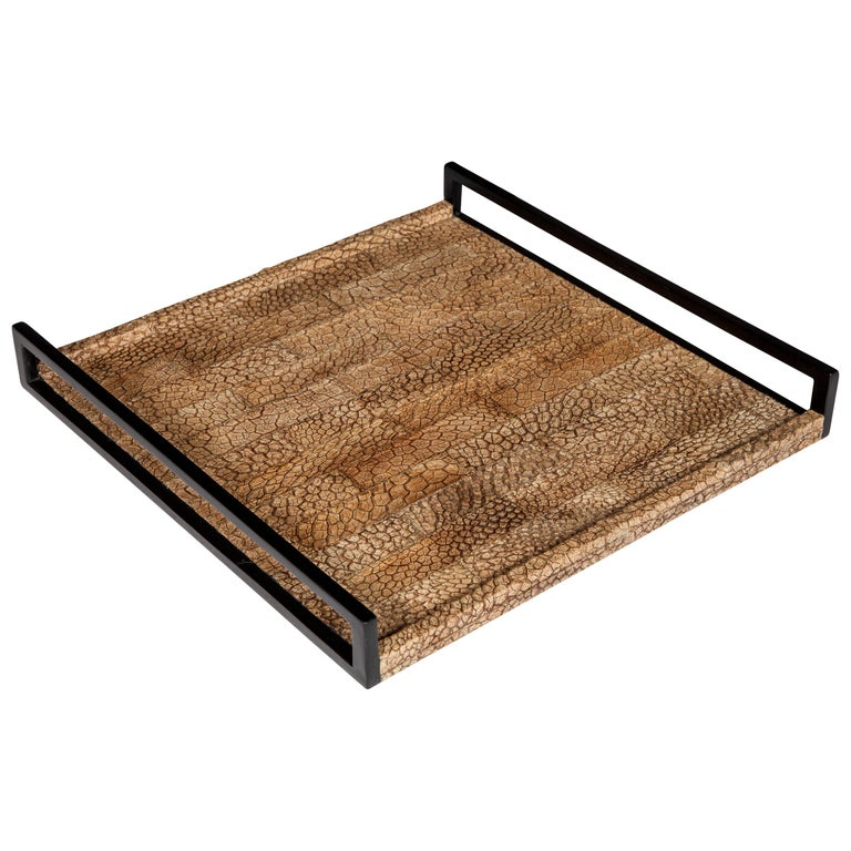 Organic Modern Serving Tray in Genuine Crocodile Leather For Sale