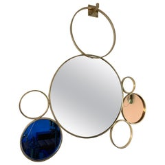 Contemporary 7 Brass Circle Mirror, Italy