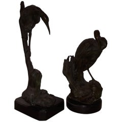 Pair of 20th Century Lost Wax Bronze Gray Herons, Italy Naples, 1930