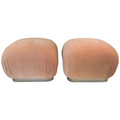 Pair of Mid Century Springer Style Upholstered Peach Poufs Souffle Ottomans