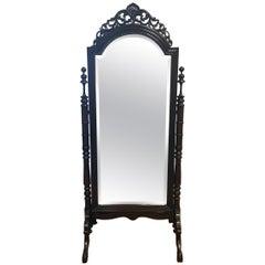 Ornate Carved Mahogany Cheval Floor Mirror