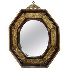 Large Antique Italian Baroque Mahogany & Ormolu Figural Wall Mirror, circa 1880