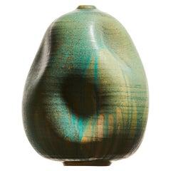 Tall Turquoise Wabi Sabi Ceramic Vase, Interior Sculpture, Handmade Vessel