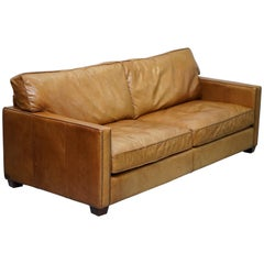 Timothy Oulton Halo Viscount William Three-Seat Brown Leather Sofa