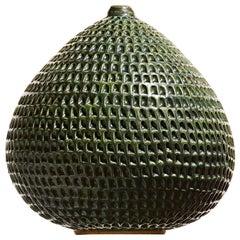 Tall Antique Green Contemporary Ceramic Vase, Interior Sculpture Handmade Vessel
