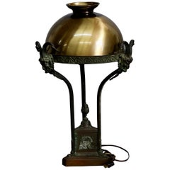 Antique French Louis XIV Figural Bronze Table Lamp with Satyr Masks, circa 1910