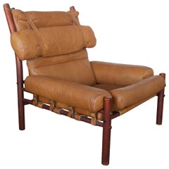 Arne Norell Brown Leather Lounge Chair, Model Inca