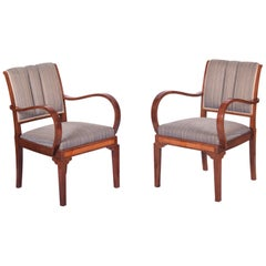 Restored Pair of Art Deco Armchairs, Original Upholstery and Fabric, High Gloss