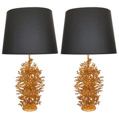 Pair of Gilt Bronze Coral Lamps by Stephane Galerneau, France, 1990s