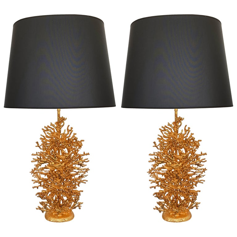 Pair of Gilt Bronze Coral Lamps by Stephane Galerneau, France, 1990s For Sale