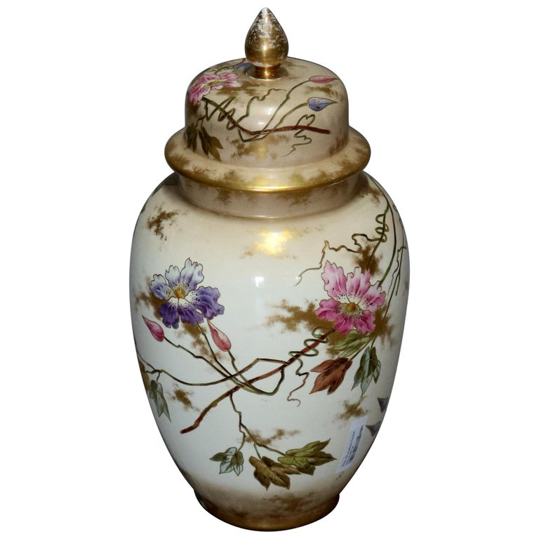 Antique German Royal Bonn Hand Painted and Gilt Floral Floor Urn, 19th Century For Sale