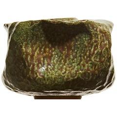 Wabi Sabi Green Contemporary Ceramic Vase, Interior Sculpture, Handmade Vessel