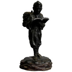 Antique Chinese Figural Bronzed Portrait Sculpture of Young Man Reading