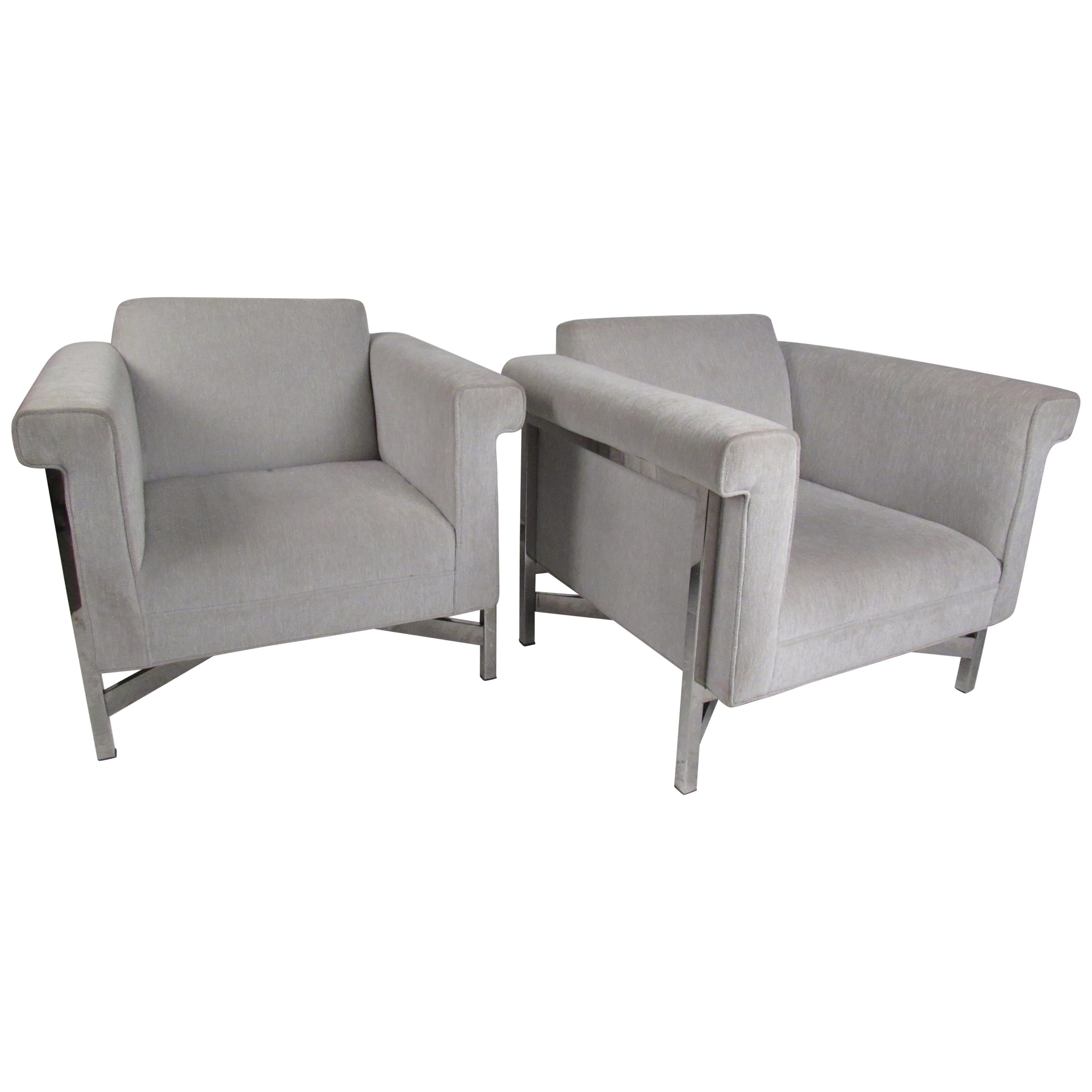 Pair of Contemporary Modern Upholstered Lounge Chairs