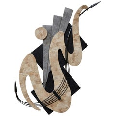 Wave Tessellated Stone Wall Sculpture with Iron Accent