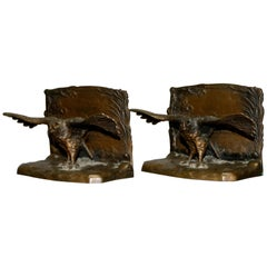 Antique Austrian Figural Eagle Cast Bronze Bookends Signed Hirschler, circa 1900