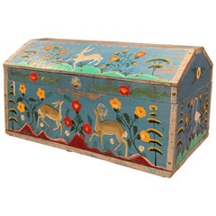 19th Century French Hand Painted Trunk with Rabbit and Deer Motifs from Normandy