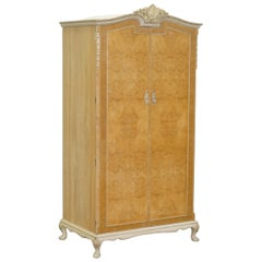 Maple & Co Art Deco 1930s Burr Walnut Single Wardrobe Part of a Large Suite