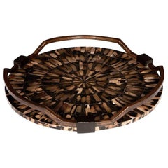 Organic Modern Starburst Tray with Mother of Pearl Inlays