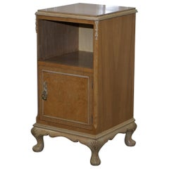 Original Maple & Co Art Deco circa 1930s Burr Walnut Bed Side Table Cabinet