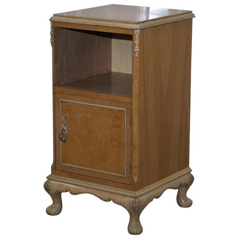 Original Maple & Co Art Deco circa 1930s Burr Walnut Bed Side Table Cabinet For Sale