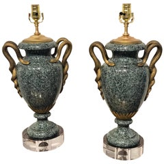 Pair of Louis XV Style Ormolu-Mounted Porphyry Urns, Now as Lamps