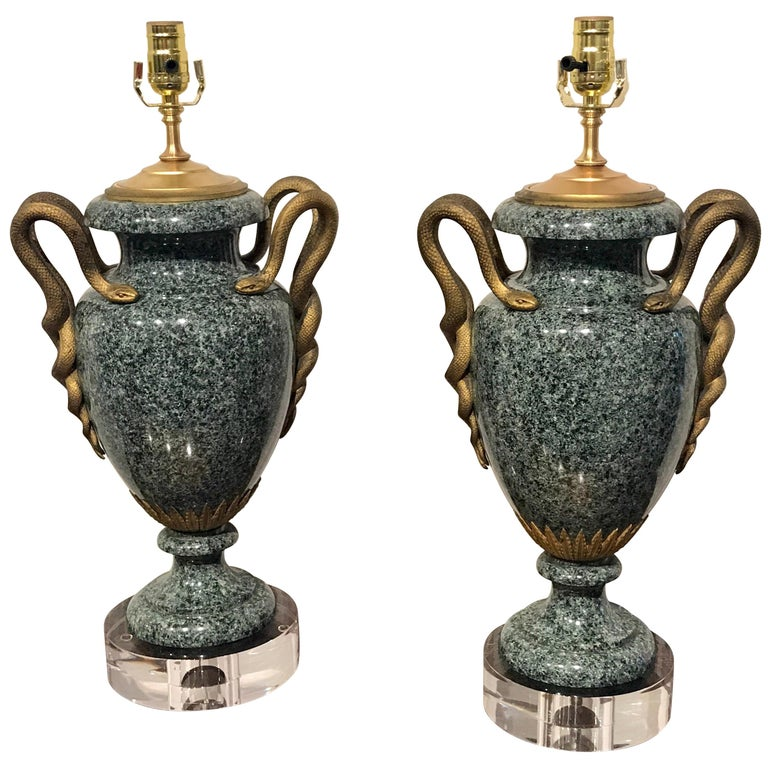 Pair of Louis XV Style Ormolu-Mounted Porphyry Urns, Now as Lamps For Sale