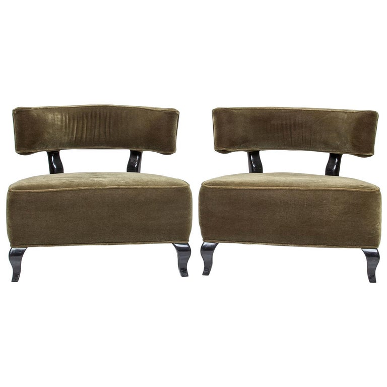 Pair of Large Deco Chairs For Sale