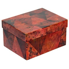 Organic Modern Decorative Box in Exotic Red Lacquered Pen Shell
