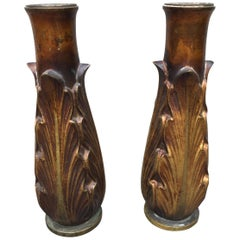 1930s Art Deco Large Bronze Candleholders or Vases, a Pair